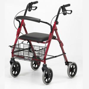 andador de aluminio con cesta, cuatro ruedas, y frenos
